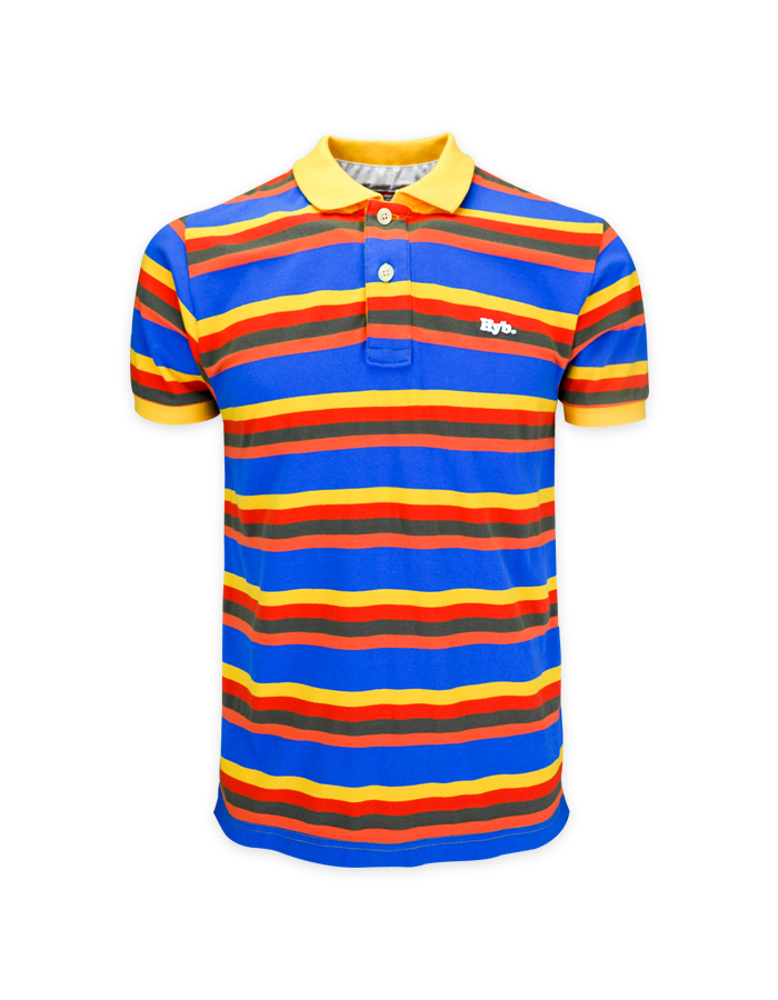 Men's Vintage Color Block Polo Shirt