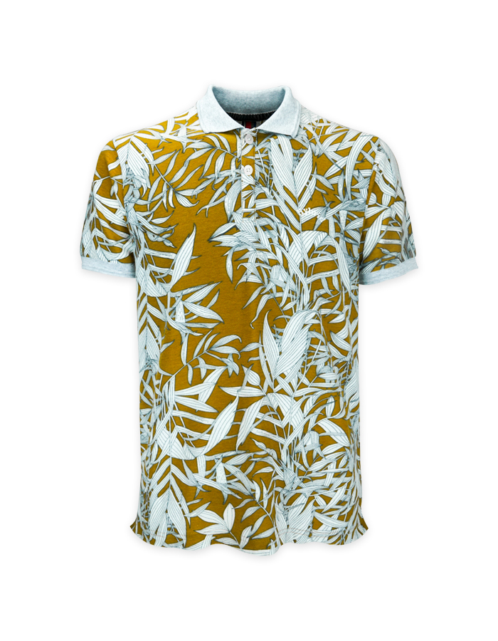 Men's Leaf Print Polo Shirt