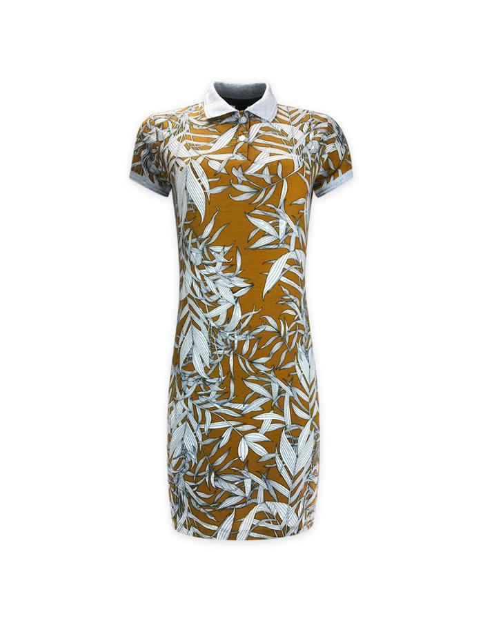 Women's Leaf Print Polo Shirt