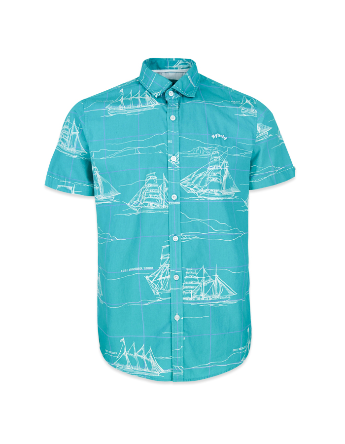 Men's Sailboat Print Short Sleeve Shirt