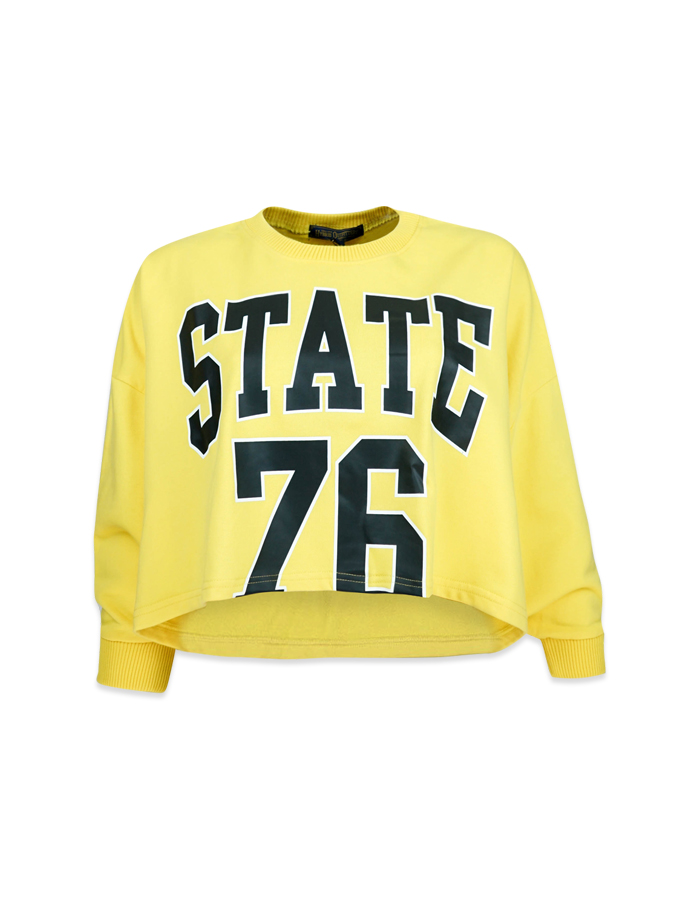 Women's Yellow Oversize Crop Top